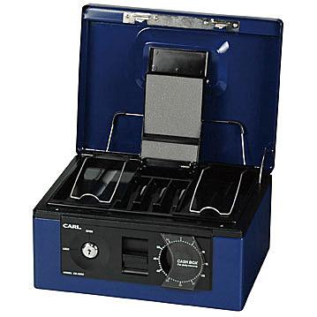 CARL(カール事務器) キャッシュボックス【A5】<ダイヤル>(紙幣/硬貨一体型トレー)CB-8560-B ブルー